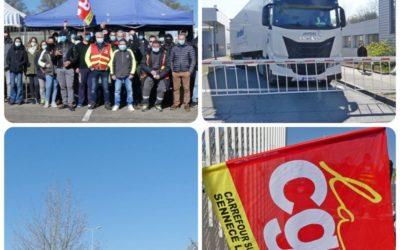 Piquet de grève devant Carrefour Supply Chain le 08/04